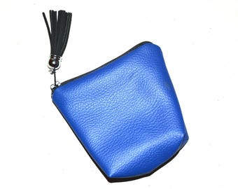 RETRO electric blue leather purse