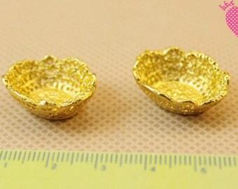 Dolls House Miniature Gold Bowl-2pcs