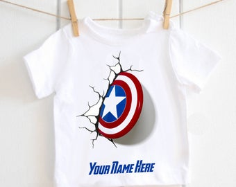 Captain America t-shirt - personalised baby tshirt, toddler tshirt, baby shower gift, super hero, the avengers, fathers day, new baby gift