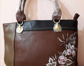 "Women's bag made of artificial leather with a painting ""Flowers"""