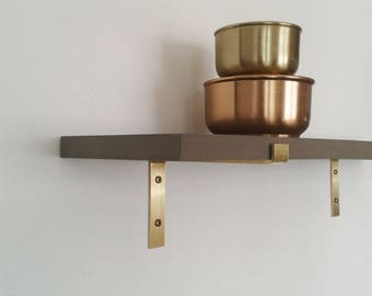 Wall shelf grey MDF brass bracket wall shelf industrial