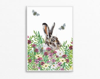 A4 English Country Hare Print
