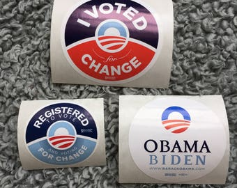 3 (THREE) President Barack Obama : 2008 Campaign Stickers