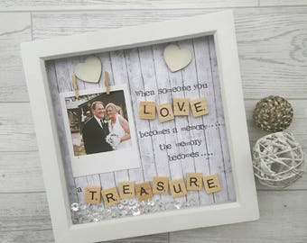 Memorial Frame, Bereavement Gift, Memory Keepsake, Present For Memorial, Condolence Gift, Treasured Memory, Personalised Scrabble frame