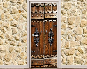 "Old Wooden Door Poster/Sticker (31"" x 79"" 
