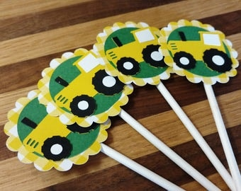 Gingham Yellow Tractor Cupake Toppers