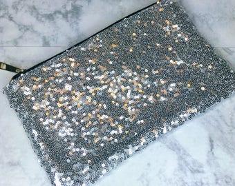 Silver Sequins Makeup Bag Clutch