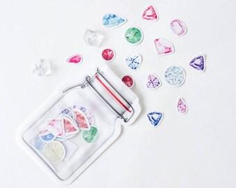 Gem stickers, diamonds, diamond stickers, engagement party, summer stickers, travel journal, Planner Stickers, Bullet Journal Accessories