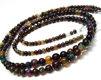 "Natural Black ETHIOPIAN OPAL smooth beads ,very nice quality, Smooth round & ball beads,3 mm -- 5 mm,15""strand [E0617] Very Nice opal beads"