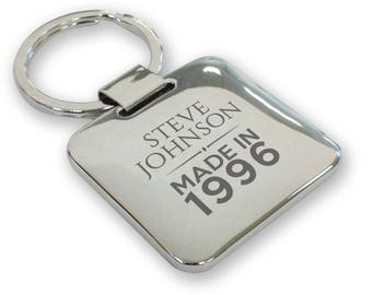 Personalised engraved SILVER PLATED 21st birthday keyring gift, deluxe pillow square keyring - QMA21