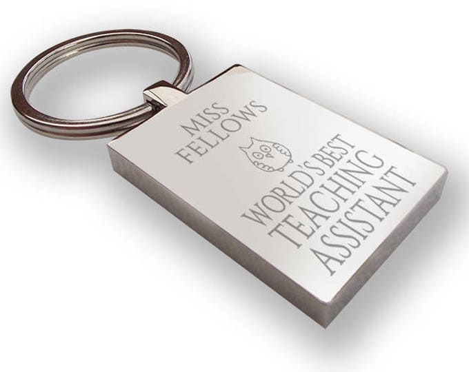 Personalised engraved World's Best TEACHING ASSISTANT keyring end of term gift, thank you - TEA2
