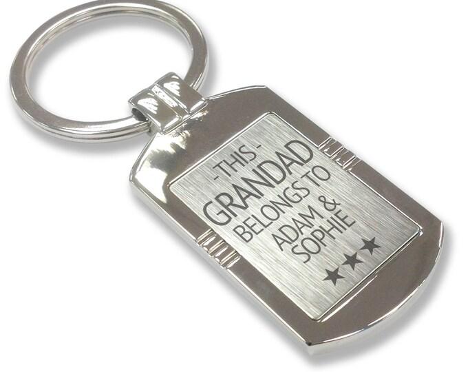 Personalised engraved This GRANDAD belongs to KEYRING gift, metal tag keyring - LG3-5