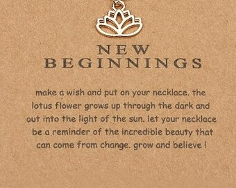 New Beginnings- Gold Charm Necklace- Small Lotus