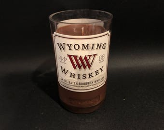 HANDCRAFTED Candle UP-CYCLED 750ML Wyoming Whiskey Bottle Soy Candle. Made To Order !!!!!!!