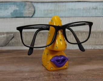 Optinoses orange diamanté glasses holder sunglasses stand
