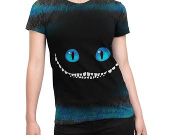 """Alice in Wonderland Cheshire Blue cheshire cat """"We're all mad down here"""" - graphic t shirt  relaxed fit unique shirt"""