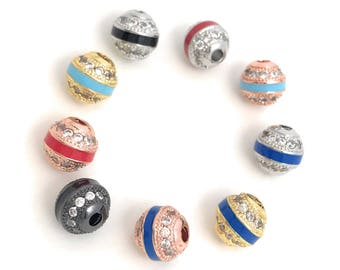 Micro Pave Beads, Enamel Beads, CZ Beads, Spacer Beads, Jewelry Making, Jewelry Supplies, Silver Beads, CZ Pave Beads, 8mm Beads, 9 Pcs