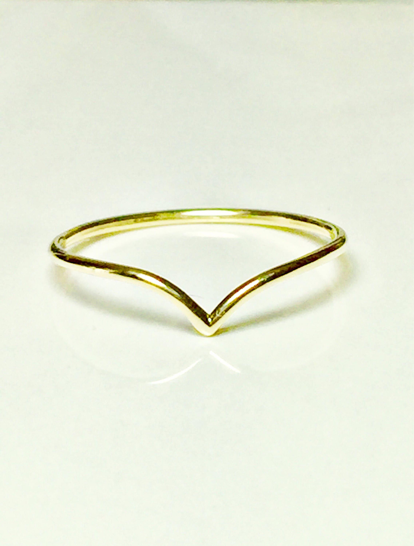 BIG SALE 14k 10k Gold V Chevron Ring Gold Rings for Women