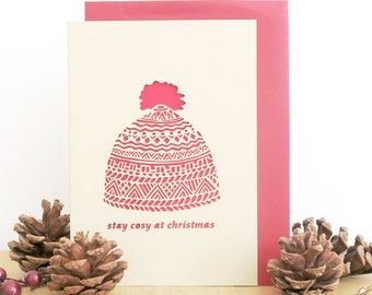 Christmas papercut card, Winter beanie card, Winter hat card, Merry Christmas papercut card, Luxury Christmas card, Seasonal greeting card