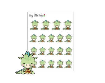 Planner Stickers Dragon Eating Pizza
