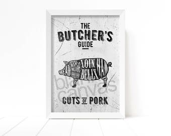 The Butcher's Guide - Pork Cuts - Kitchen Wall Art, Poster, Printable - Instant Digital Download