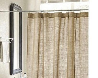beige and brown shower curtain. Natural burlap shower curtain custom length available country farmhouse  natural brown Brown Etsy