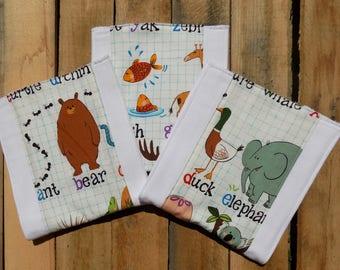 Set of 3 Animal Burp Cloths - Baby Shower Gift