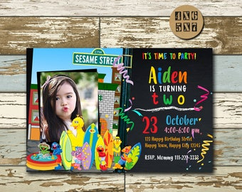 Sesame Street, Sesame Street Invitation, Sesame Street Party,Sesame Street Birthday Invitations, Elmo Invitation,Sesame Street Printable,FD