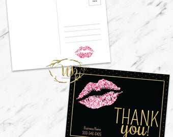 Pink|Glitter|Black| LipSense| LipSense Thank You Card | SeneGence Thank You Card | Makeup Thank You Card | Small Business Thank You Card