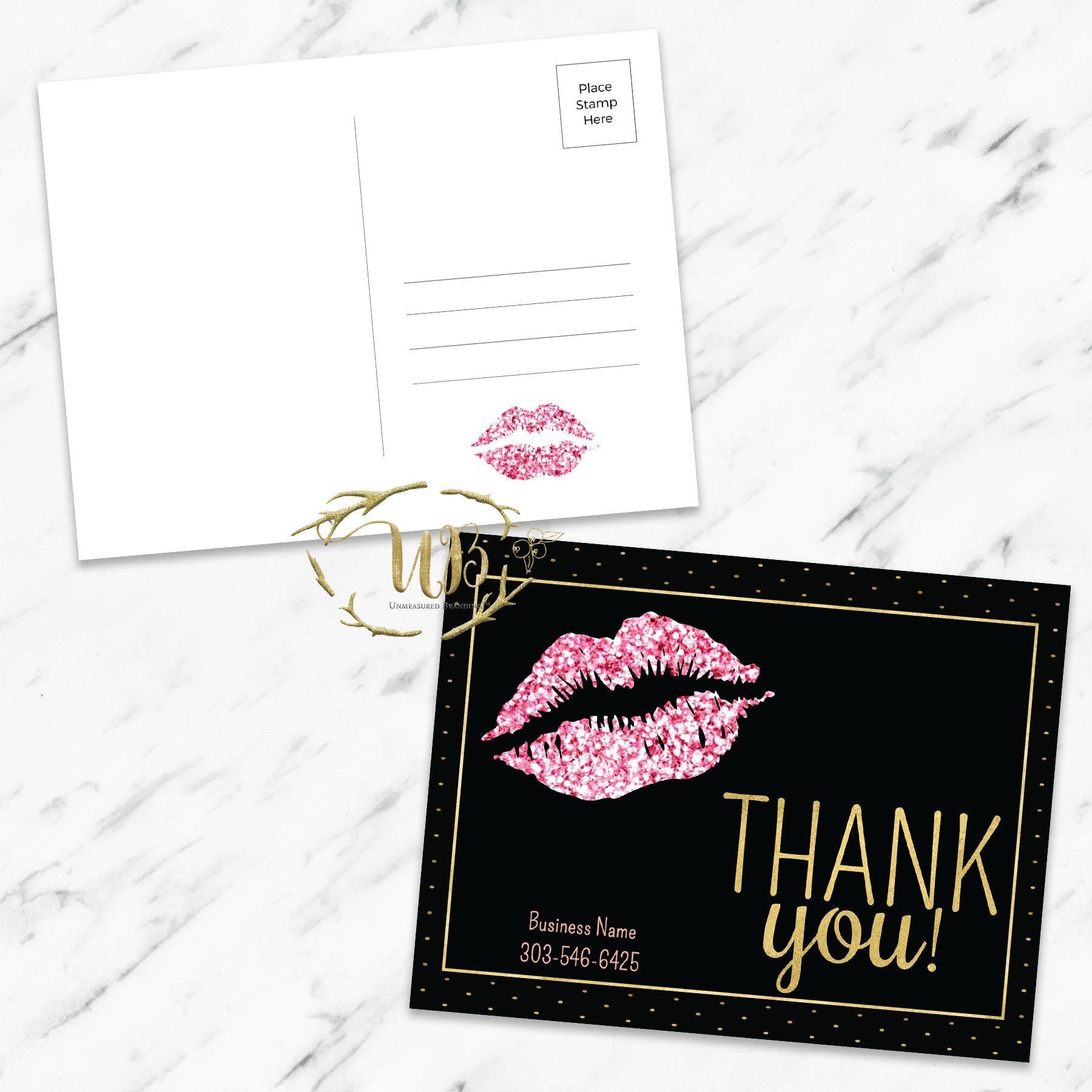 pinkglitterblack lipsense lipsense thank you card