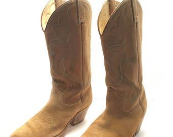 Vintage Cowboy Boots. Light Brown Suede. Size 8. Western, Men's. Vintage.