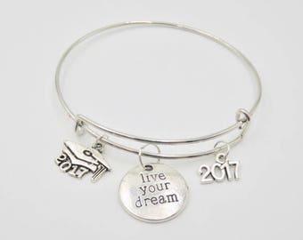 "Graduation Bracelet ""Live your Dream 2017"" with charms"
