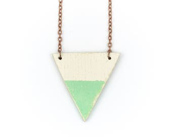 geometric necklace triangle mint turquoise