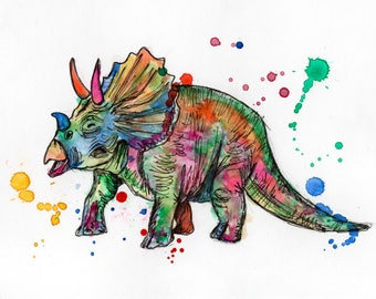 A5 Triceratops Watercolour and Ink Print