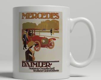 Mercedes mug, Daimler mug, vintage car mug, advertising mug, Vintage motoring mug,  art deco mug, classic car mug, UK Mug Shop. Merc Daim 1