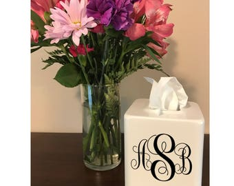 Monogrammed Tissue Holder - Custom Tissue Holder - Monogrammed Tissue Box Cover