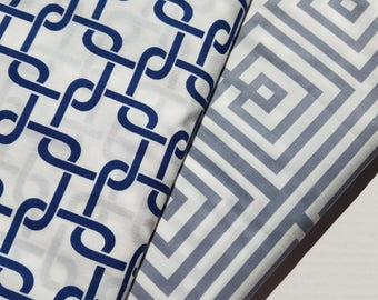 VL Geometric-Gray or Navy  Polyester Cotton Blend Fabric