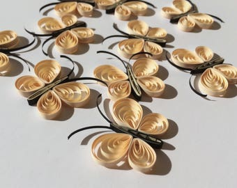 Quilled Butterflies Paper Quilling Art Confetti Scatter Ornament Gifts Filler Easter Mothers Day Baby Bridal Shower Wedding Cream Spring