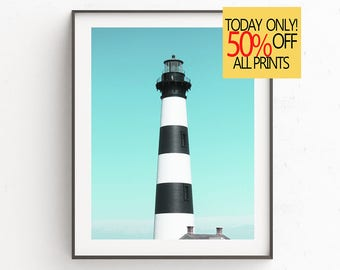 Lighthouse Print, Lighthouse Photo, Printable Lighthouse, Lighthouse Poster, Bodie Island Lighthouse, North Carolina  Lighthouse, Wall Art