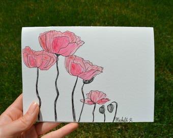 Hand Drawn Card (Handmade), Poppy Card, Flower Card, Poppy Stationery, Flower Stationery