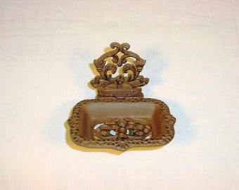 Soap dish, brown soap dish, metal soap dish, business card holder, catch all