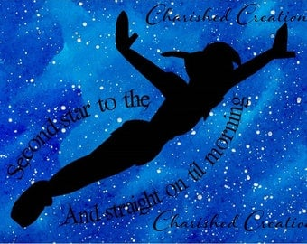Peter Pan Print, Second Star to the Right Quote *INSTANT DOWNLOAD*