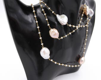 Long necklace with freshwater pearls in Sterling Silver 925 ‰ and beads-Long necked Women's necklace with freshwater pearl in 925 silver