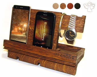 Docking station Phone stand wood Phone dock Apple watch stand Charging dock wood Desk organizer iPhone holder iWatch dock Charging station