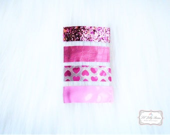 """Slim Snap Hair Clips Pink- """"Hair is Where the Heart is"""""""