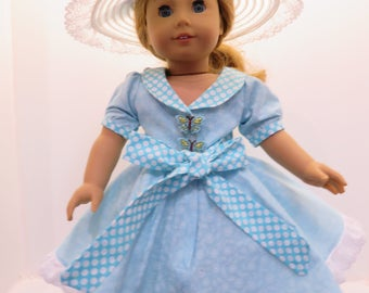 """American Girl Doll & Other 18"""" Doll Dress in Blue"""