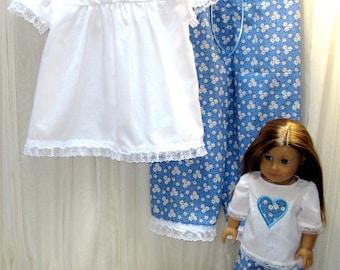 American Girl Doll,  Pajamas, PJs,  Girl and  Doll. Matching Outfit, Matching PJs, Girl and Doll PJs, Girl and Dolll Outfit, Matching Set
