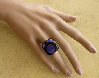 Black fused glass ring, purple polka dot Dichroic Glass with metallic highlights, adjustable