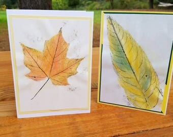Autumn Greeting Cards (Yellows), (2 pack) Leaf Cards, Blank Inside, Thanksgiving Cards, Fall Cards