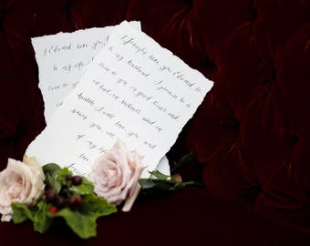 Bride & Groom Wedding  Vows Set, handwritten calligraphy, digitally printed on watercolor paper.